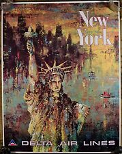 """Jack Laycox Original Delta Airlines Travel Poster, """"New York Statue of Liberty""""!"""