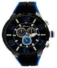 Black Blue Mens Watch Geneva Metal Oversized Boyfriend Designer Fashion Sport
