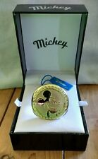 New Berger Quartz Gold Mickey Mouse Men's Pocket Watch With Chain and Box WTC510
