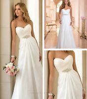 2016 New Chiffon Wedding Dress White/Ivory Beach Bridal Ball Gown Pleat Pearls