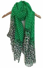 LADIES GREEN BLACK WHITE POLKA DOT AND LEOPARD ANIMAL  PRINT SCARF WRAP SARONG