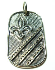 KONSTANTINO STERLING SILVER FLEUR DE LIS LARGE DOG TAG BLACK DIAMOND PENDANT