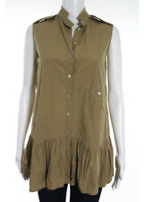 AUTH MIU MIU Khaki Beige Cotton Sleeveless Button Down Blouse EUR 40 RB749