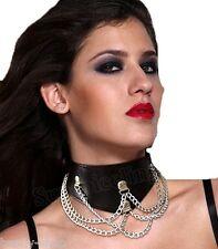 Black cuero liso collar collar con tachuelas cadenita, así como presillas atrás