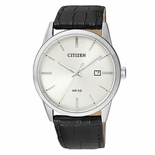 New Citizen Men's Dress Stainless Steel Leather Strap Watch BI5000-01A