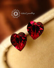 Simulated Ruby Swarovski Crystal Heart Stud Earring/18K White Gold/RGE304S