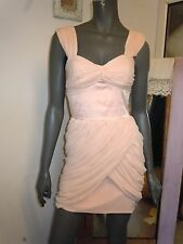 LIPSY Baby Pink fitted Bardot Evening Party DRESS Grecian soft folds sexy mini