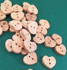 Tiny Little Wooden Heart Shaped Craft Buttons Sewing Cards Scrap booking x 12