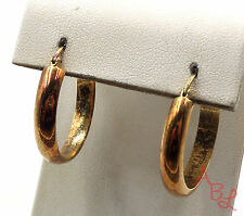Gold Over Sterling Silver Vintage 925 Simple Hoop Earrings (5.5g) - 549673