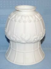 Vtg Antique White Satin Glass Light Lamp Shade Floral Panelled Bell Victorian