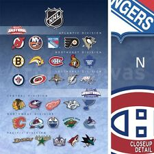 "30""x40"" NATIONAL HOCKEY LEAGUE TEAMS NHL DIVISIONS LOGOS - SPORTS CANVAS"