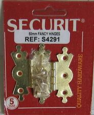 Pair of 50mm ornate fancy brass hinges with screws new