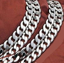 Heavy 10mm 925 Sterling Silver Stamped Curb Link Chain Woman Men Necklace N-A358