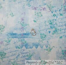 BonEful Fabric Cotton Quilt Blue Flower Ballet French Country Word Dance L SCRAP
