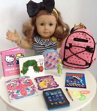 "Sequin Backpack and School Supplies for American Girl Doll 18"" Accessories SET"