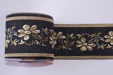 1m 65mm black Gold jacquard embroidered ribbon  applique motif trimming decor