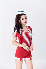 S-XL School Girls Sailor Costume Striped Top+Overalls Sports Cheerleader Uniform