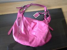 MAKOWSKY leather hot pink silver studded large slouchy hobo sac shoulder bag