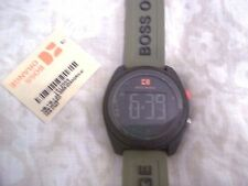 New Hugo BOSS Orange Watch Stainless Steel Army Green Silicone Strap Quartz mens