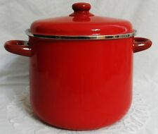 RED ENCORE 9 Qt (8L) 24cm POT w/ LID PORCELAIN ENAMEL SPAIN COOKWARE - Vintage