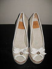 NEW IN BOX TORY BURCH JACKIE ESPRADILLE WEDGE LINEN SANDAL SHOES SIZE 9.5
