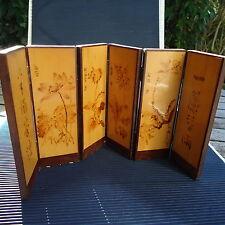 Art Asie Paravent Miniature 6 Pans Bois Précieux Décorés Signés 35x17 Cm 296 Grs