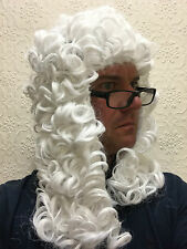 White Judge Wig Barrister Court Gentleman Downton Abbey Law Fancy Dress Hair