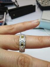 CZ Ring. 925 Sterling Silver Band Yellow and Clear CZ