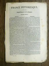 HUGO France Pittoresque LA SOMME 1835 Avec carte & 5 gravures PICARDIE