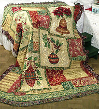 Occasions of the Season ~ Christmas Ornaments & Bulbs Tapestry Afghan Throw