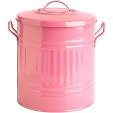 LIGHT PINK 15L 15 Litre Metal Steel DustBin Bin Storage Kitchen Paper Trendy