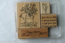 """Stampin Up Spring Bouquet set of 4 """"Retired"""" Tulips, Watering Can, Gift...God"""