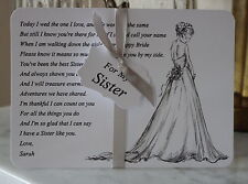 SISTER of the Bride Thank You Card-Keepsake-Poem-Personalised-Wedding-White Card