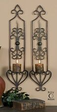 "TWO LARGE 30"" ANTIQUED RUST BROWN HAND FORGED METAL WALL SCONCE CANDLE HOLDERS"