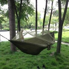 Parachute Fabric Hammock Hanging Bed With Mosquito Net Army Green for Outdoor