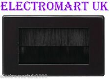 BLACK 2 GANG DOUBLE CABLE TIDY WALL PLATE FACEPLATE ENTRY EXIT TV BLACK BRUSHES