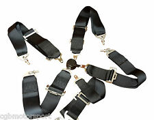 "NEW SPORT RACING HARNESS SEAT BELT 3"" 4 / 5 / 6 POINT FIXING BLACK QUICK RELEASE"
