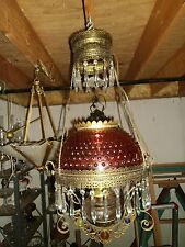 Antique RETRACTABLE HANGING OIL LAMP Cranberry Hobnail Shade Prisms Nice!