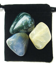 CANCER ZODIAC / ASTROLOGICAL Tumbled Crystal Healing Set = 3 Stones+ Pouch+ Card