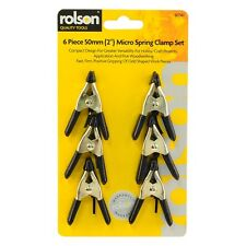 ROLSON 6 PIECE 50MM MICRO SPRING CLAMP SET STEEL CLAMPS MAX JAW OPENING 20mm