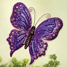 Butterfly Hanging Wall Art Purple Pink Enameled Metal Home Decor 12 x 13-Inch