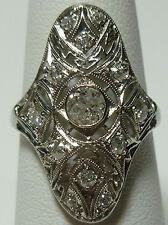 ANTIQUE NOUVEAU DECO 18K WHITE GOLD FILIGREE .55CT OLD EUROPEAN DIAMOND RING