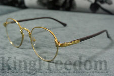 Vintage Oval Gold Eyeglass Frame Man Women Plain Glass Clear Full-Rim Spectacles