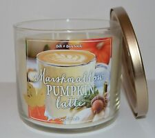 BATH & BODY WORKS MARSHMALLOW PUMPKIN LATTE SCENTED CANDLE 3 WICK 14.5 OZ LARGE