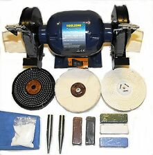 "370W Bench Grinder - General Purpose Metal Polishing Kit -  6"" x 1"" Mops"