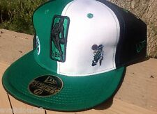 BOSTON CELTICS NEW ERA FITTED HAT 7 3/8 EMBROIDERED LOGO OFFICAL NBA GREEN