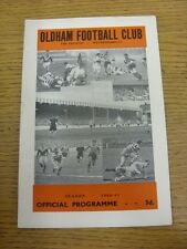 01/04/1961 Rugby League Programme: Oldham v Whitehaven  (team changes). Thanks f