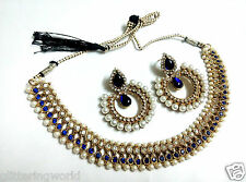 Glittering World Designer Choker Necklace Earrings Set in Blue Colour