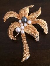 Vintage CHRISTIAN DIOR Palm Tree with Faux Pearl Coconuts Brooch