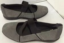 Clarks women's Collection Soft cushion Gray Suede Elastic Slip ON Shoe Size 9.5